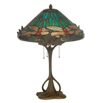 dale tiffany 24 inches blue art glass dragonfly table lamp with tree trunk base tt11116